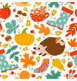 autumn seamless pattern drawing pumpkin nuts vector image