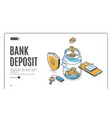 bank deposit isometric landing page web banner vector image vector image
