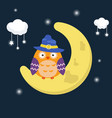 cartoon owl sitting on the moon cartoon owl vector image