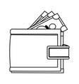 cartoon wallet banknote money safe icon vector image vector image