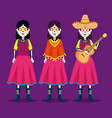 catrina with hat and guitar to celebrate day of vector image vector image