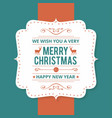 christmas greetings card with dark green vector image vector image