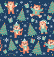 christmas tiger seamless pattern cute cartoon vector image vector image