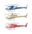 civil military and medical helicopters vector image