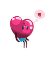 cute pink heart character dreaming about the vector image vector image