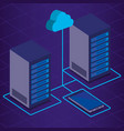 data center technology isometric icons vector image