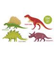 dinosaur species icon set vector image vector image