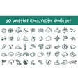 doodle weather icons set vector image vector image