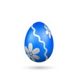 easter egg 3d icon blue silver egg isolated vector image vector image
