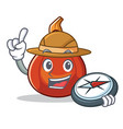 explorer red kuri squash mascot cartoon vector image
