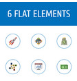 flat icons rocket income support and other vector image vector image