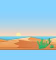 flat simple design desert near ocean sea vector image vector image