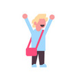 girl backpack raising hand up school children vector image