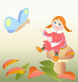girl sitting on a mushroom and butterfly vector image vector image