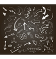 Hand drawn arrows icons set on a chalkboard vector image vector image