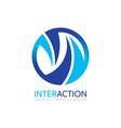 interaction - logo template concept vector image vector image