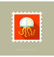 Jellyfish flat stamp with long shadow vector image vector image