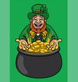 leprechaun with with pot of gold vector image