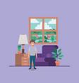 little boy in livingroom vector image