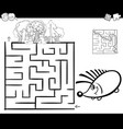 maze with hedgehog coloring page vector image vector image