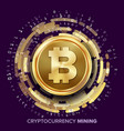mining bitcoin cryptocurrency vector image vector image
