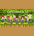 multicultural children and number in jungle vector image vector image