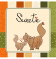 new baby kitten with his mother vector image vector image