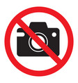 prohibiting sign photo video shooting is vector image