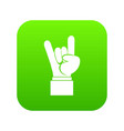 rock and roll hand sign icon digital green vector image