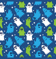 seamless pattern cute funny cartoon ghosts on vector image vector image