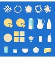 Set of dairy products in flat style vector image vector image