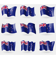 Set of New Zeland flags in the air vector image vector image