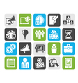 Silhouette Business management concept icons vector image vector image