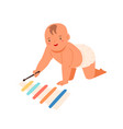 smiling toddler playing on wooden xylophone vector image