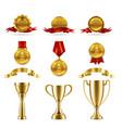 sport or game trophy set gold reward vector image vector image