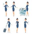 stewardess woman hostess professional blue vector image vector image