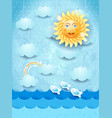 summer landscape with hanging clouds and happy sun vector image