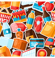 supermarket seamless pattern with food stickers vector image vector image