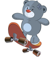 The stuffed toy bear cub and skateboard cartoon vector image vector image
