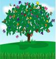 tree butterflies vector image vector image