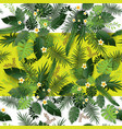 tropical flowers and leaves print vector image vector image