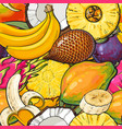 tropical fruit seamless pattern hand drawn vector image