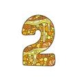 Zentangle number decorative number vector image vector image
