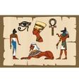Ancient Egypt symbols on papyrus vector image