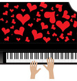 Heart love music piano playing a song for valentin vector image