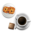 A topview of a cup of coffee and a plate of vector image vector image