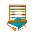 abacus on a pile of books icon vector image
