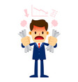 angry businessman with red face holding crushed vector image