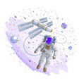 astronaut went out into open space connected to vector image vector image
