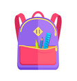 backpack for child with school stationery vector image vector image